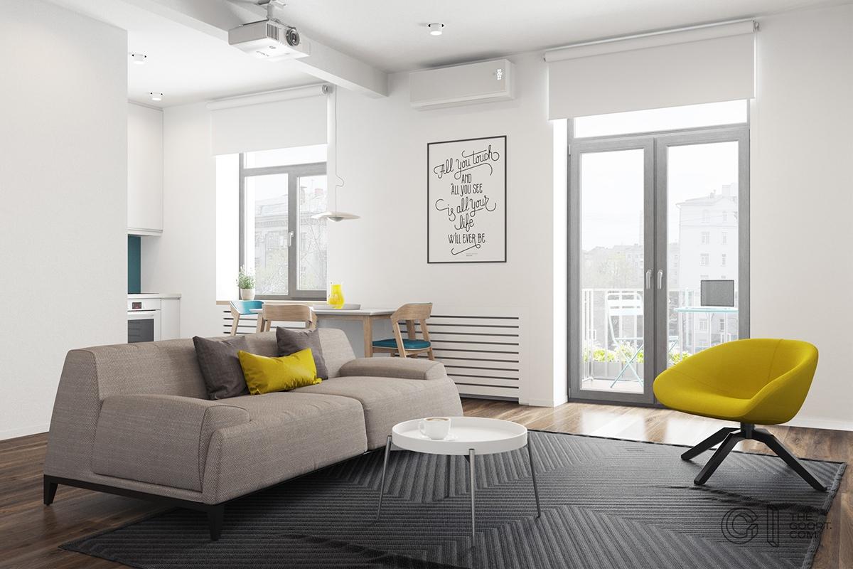 Living de apartamento de menos de 50 metros cuadrados