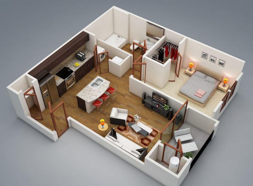 Modelo para apartamento de 1 dormitorio de pareja