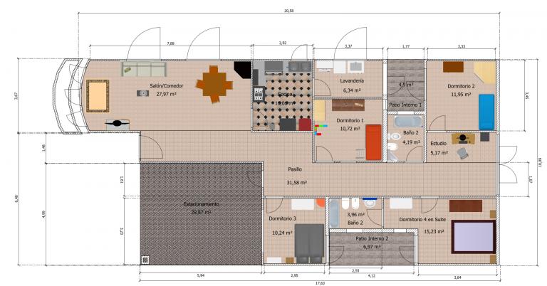Plano de casa 10 x20 metros
