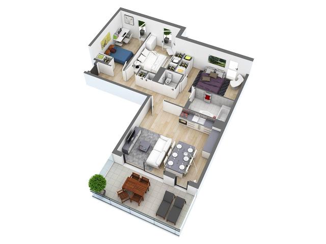 Plano de departamento en forma de L con 3 habitaciones