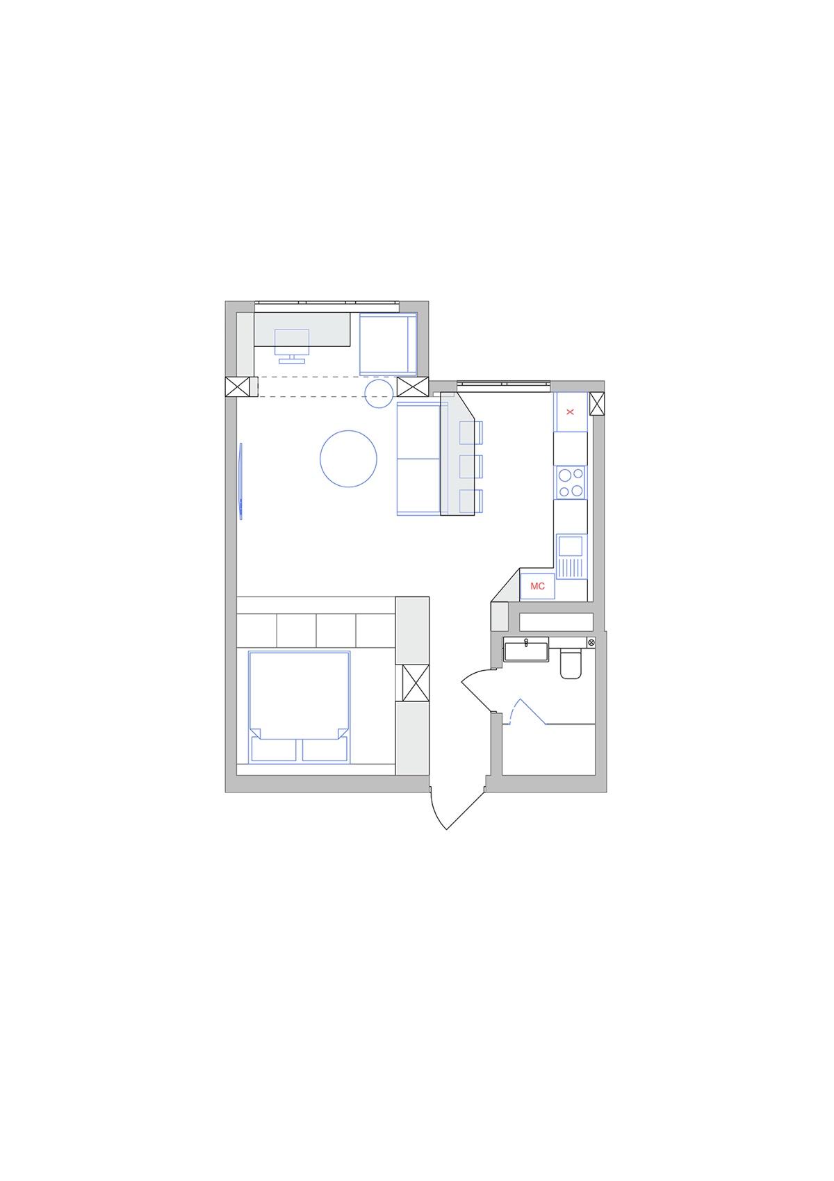 Planos de apartamento de 45 metros cuadrados