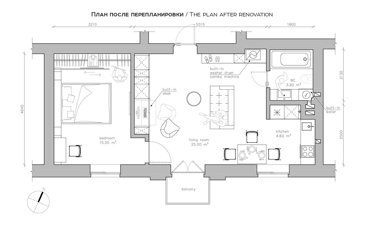 Planos de apartamento de menos de 50 metros cuadrados