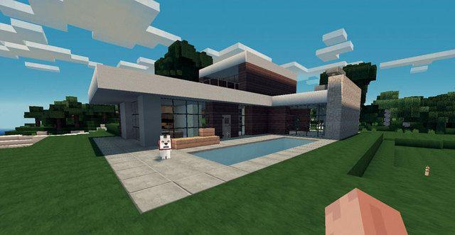 Planos de casas para Minecraft con alberca