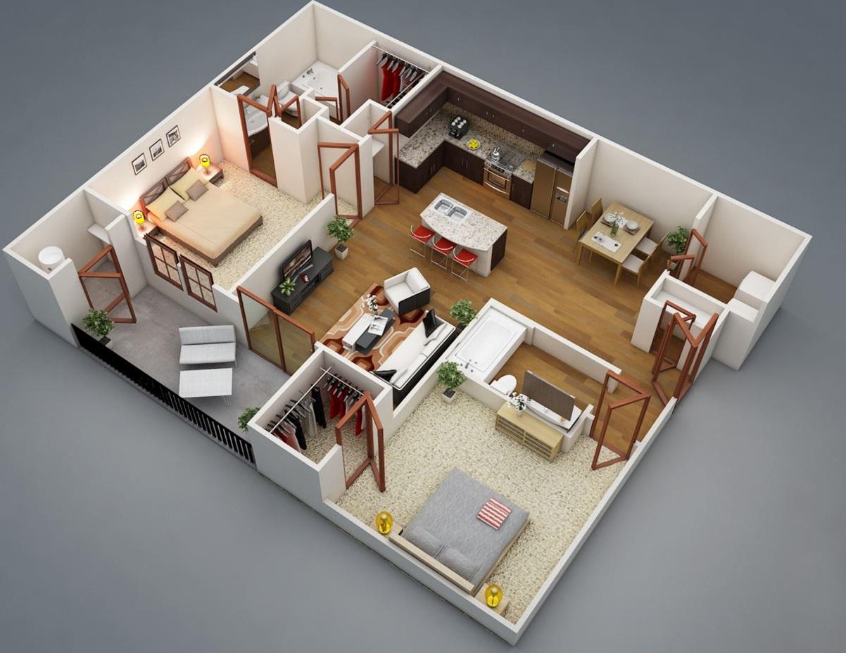 Planos de departamentos en 3D amplio de 2 habitaciones