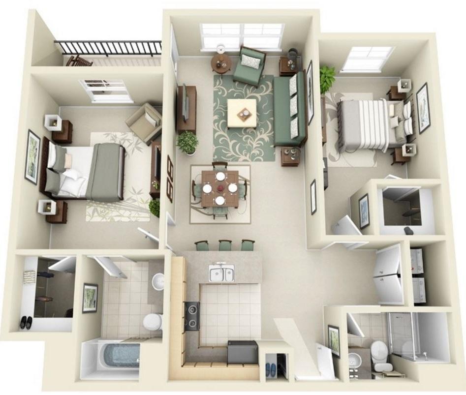 Planos de departamentos en 3D con balcón