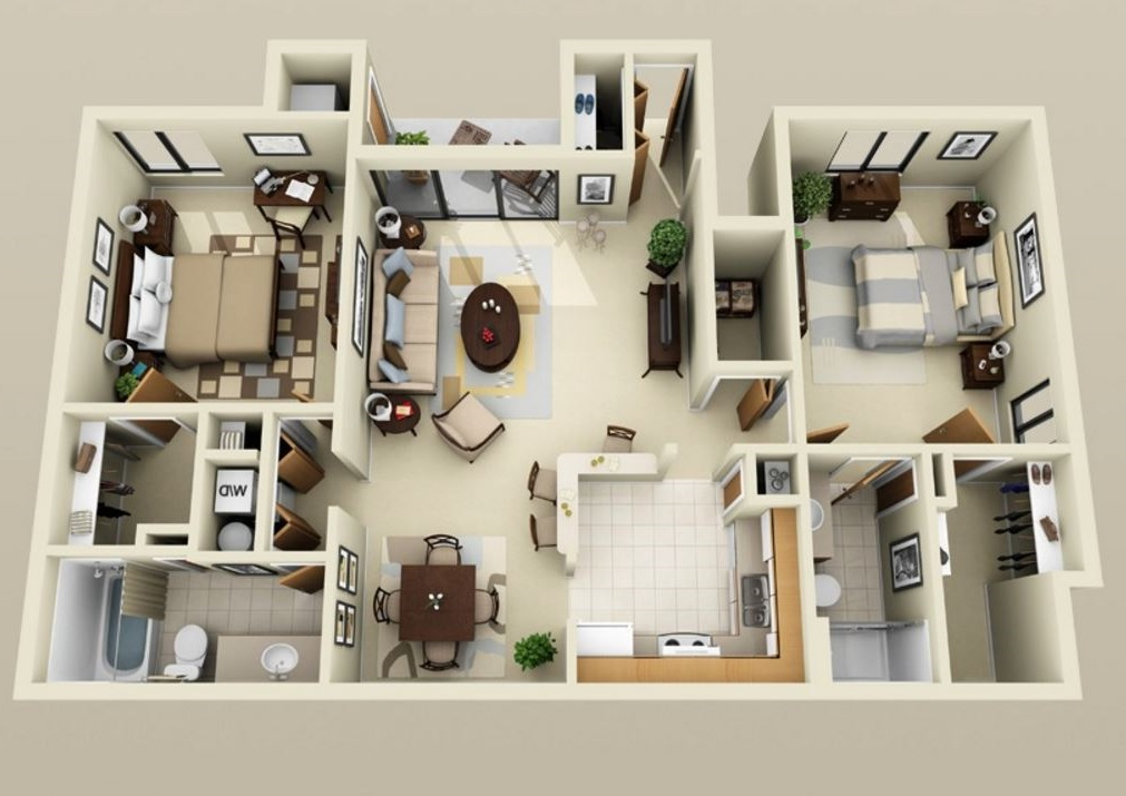 Planos de departamentos en 3D con clóset grande