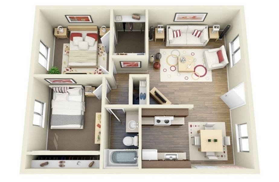 Planos de departamentos en 3D con detalles en madera