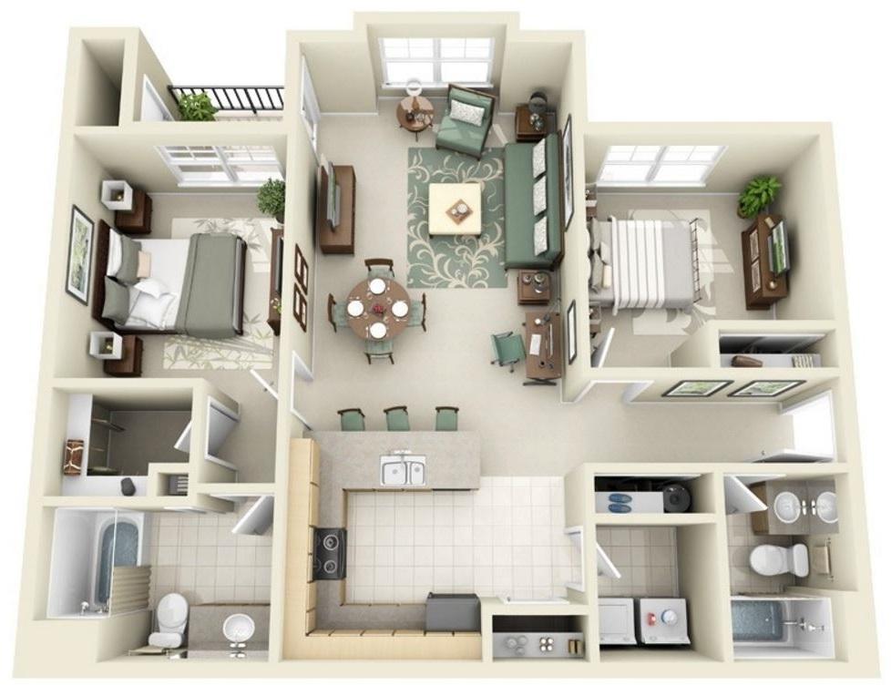 Planos de departamentos en 3D con sala amplia