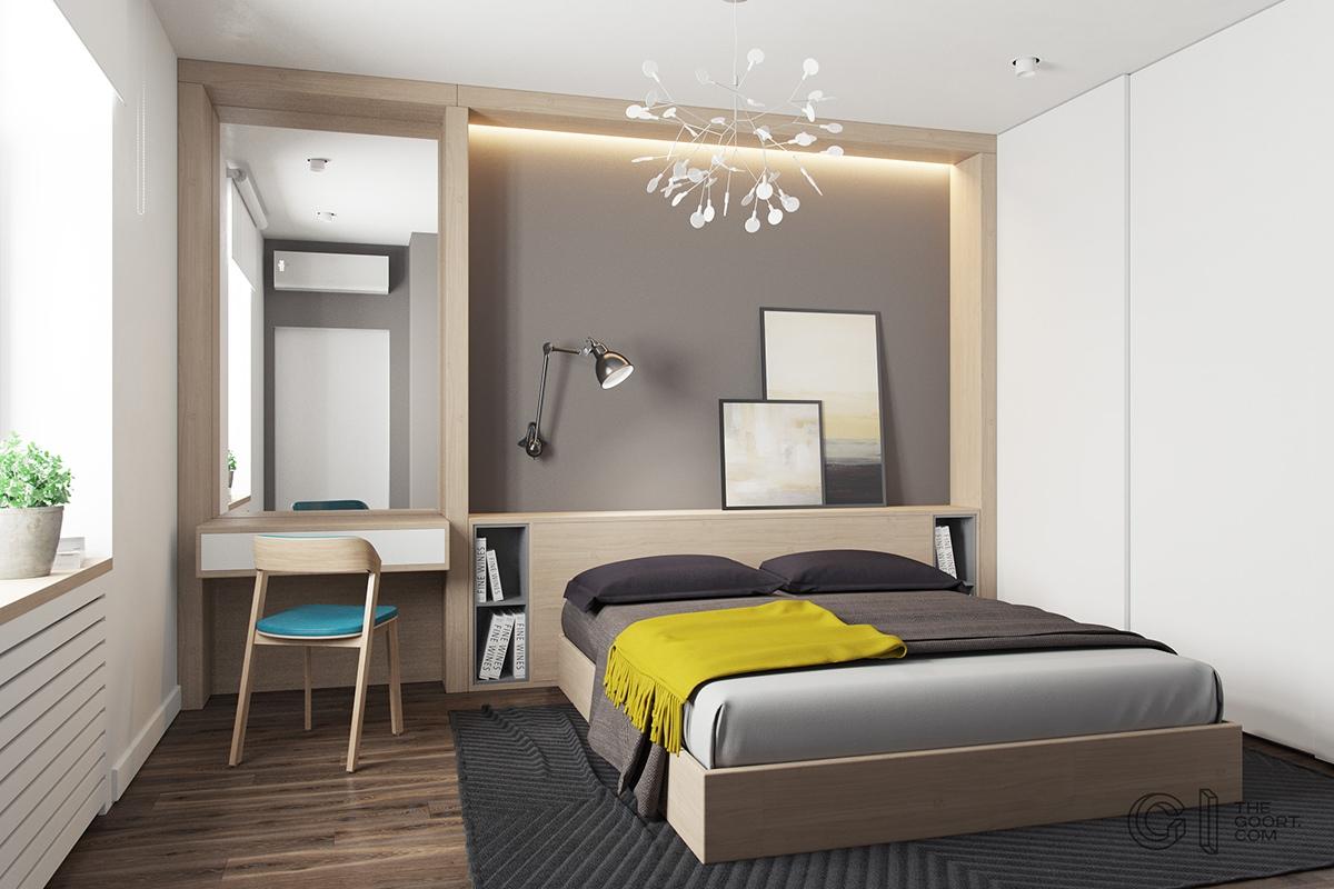 Recámara de apartamento de menos de 50 metros cuadrados