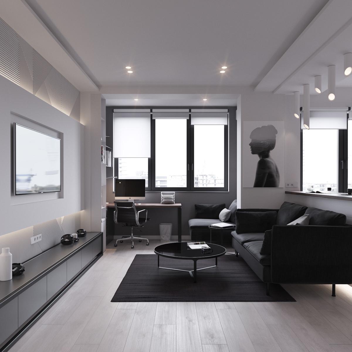 Sala de estar de apartamento de 45 metros cuadrados