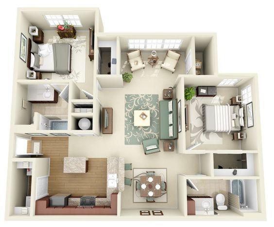 2 Habitaciones para plano de departamento amplio