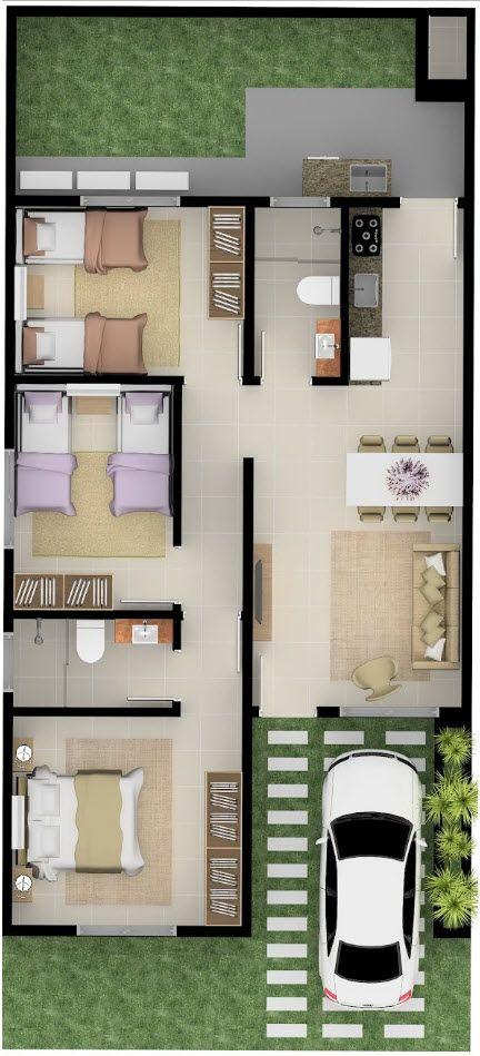 3 Habitaciones en planos de casa sencilla