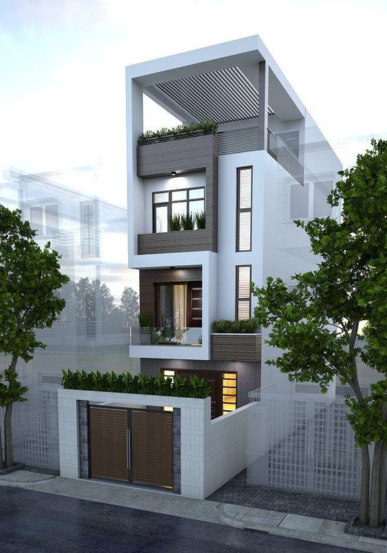 Casa angosta con terraza