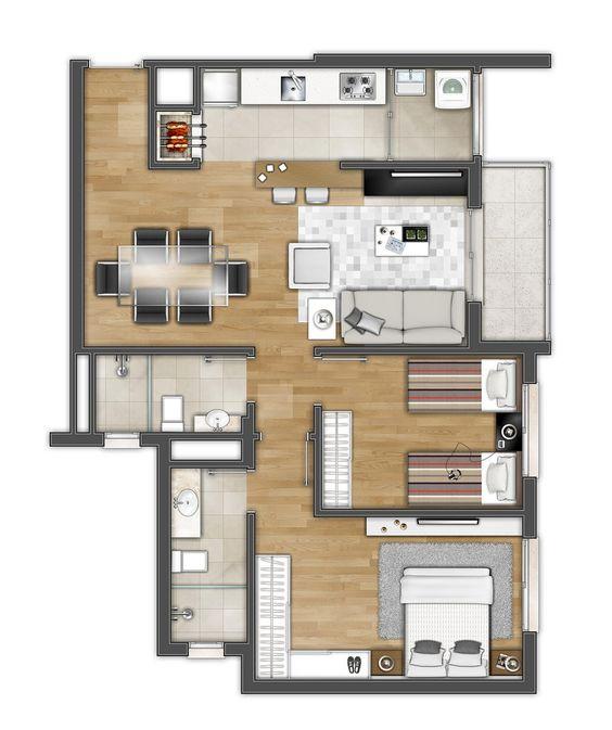 Casa con 2 habitaciones y balcón