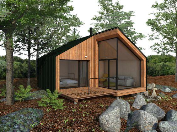 Casa con fachada de madera moderna