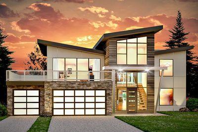 Casa con fachada futurista de dos pisos