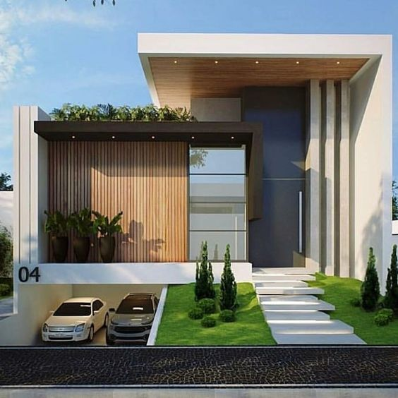 Casa con techo alto para fachada de residencial