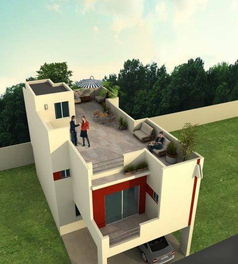 Casa con terraza amplia en el techo