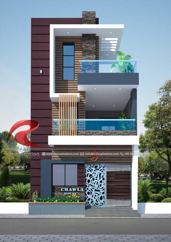 Casa de 3 pisos con madera y ventanales