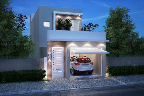 Casa de dos pisos pequeña con cochera