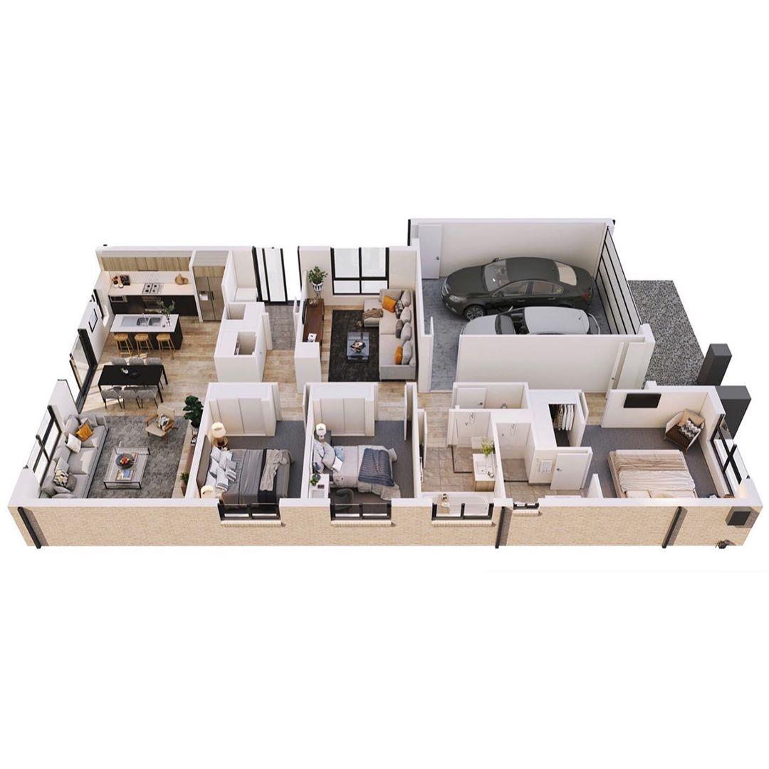 Casa en 3D amplia con 3 habitaciones