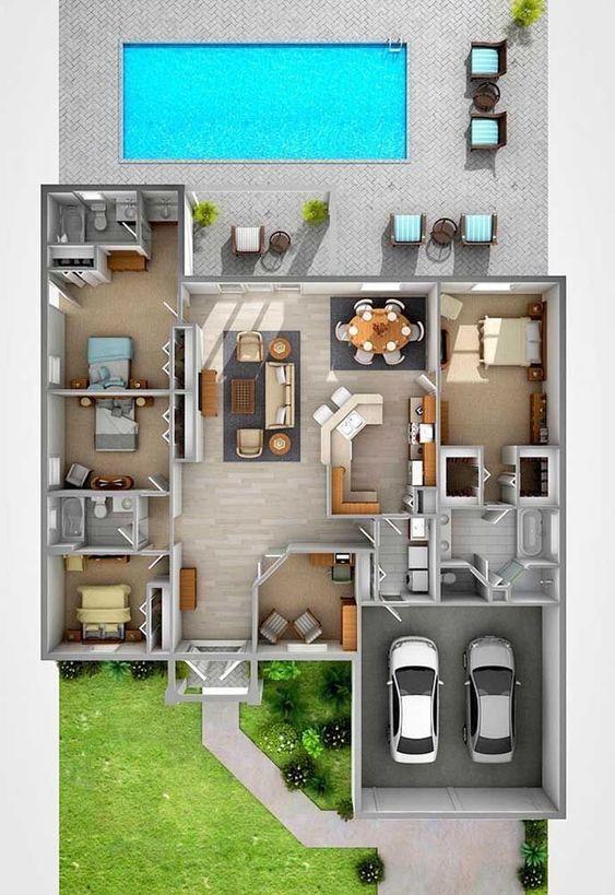 Casa grande con 4 habitaciones y área de alberca