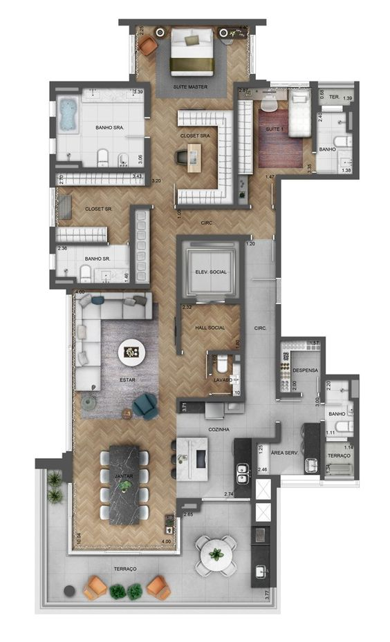 Casa larga con terraza