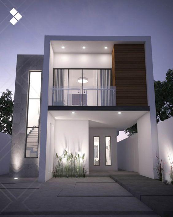 Casa minimalista con ventanas rectangulares para fachada