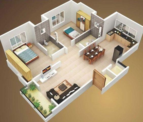 Casa pequeña con balcón y pasillo largo
