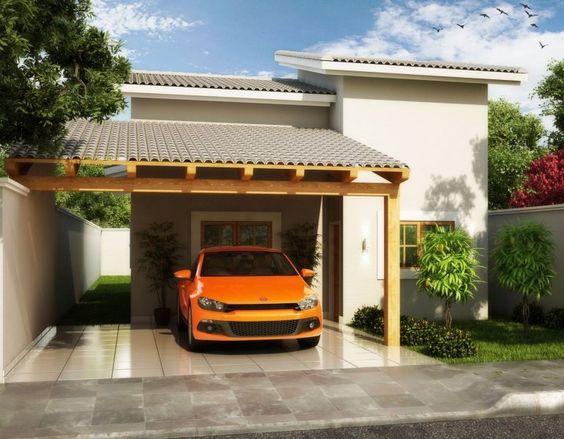 Casa pequeña con cochera de tejabán