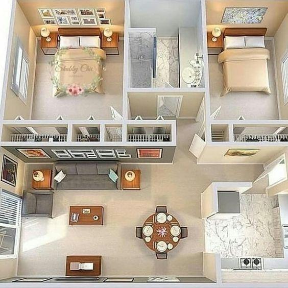 Casa pequeña con dos habitaciones y un baño