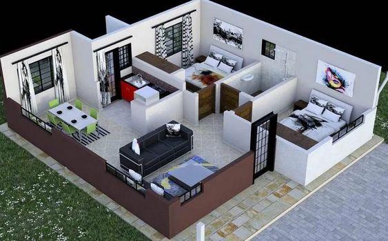Casa pequeña con sala y comedor sin divisiones