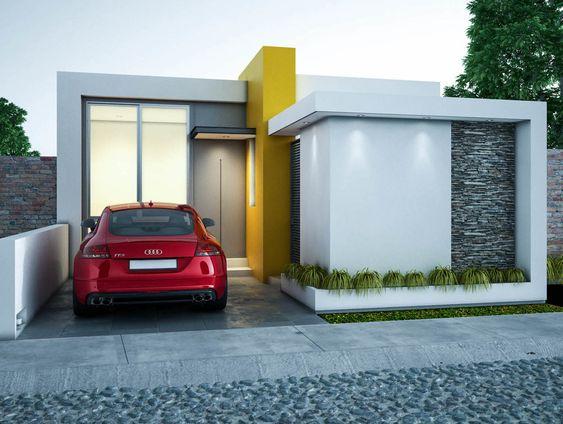 Casa pequeña moderna con color llamativo