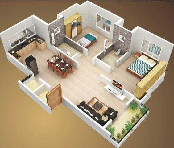Casa sencilla con áreas comunes sin divisiones