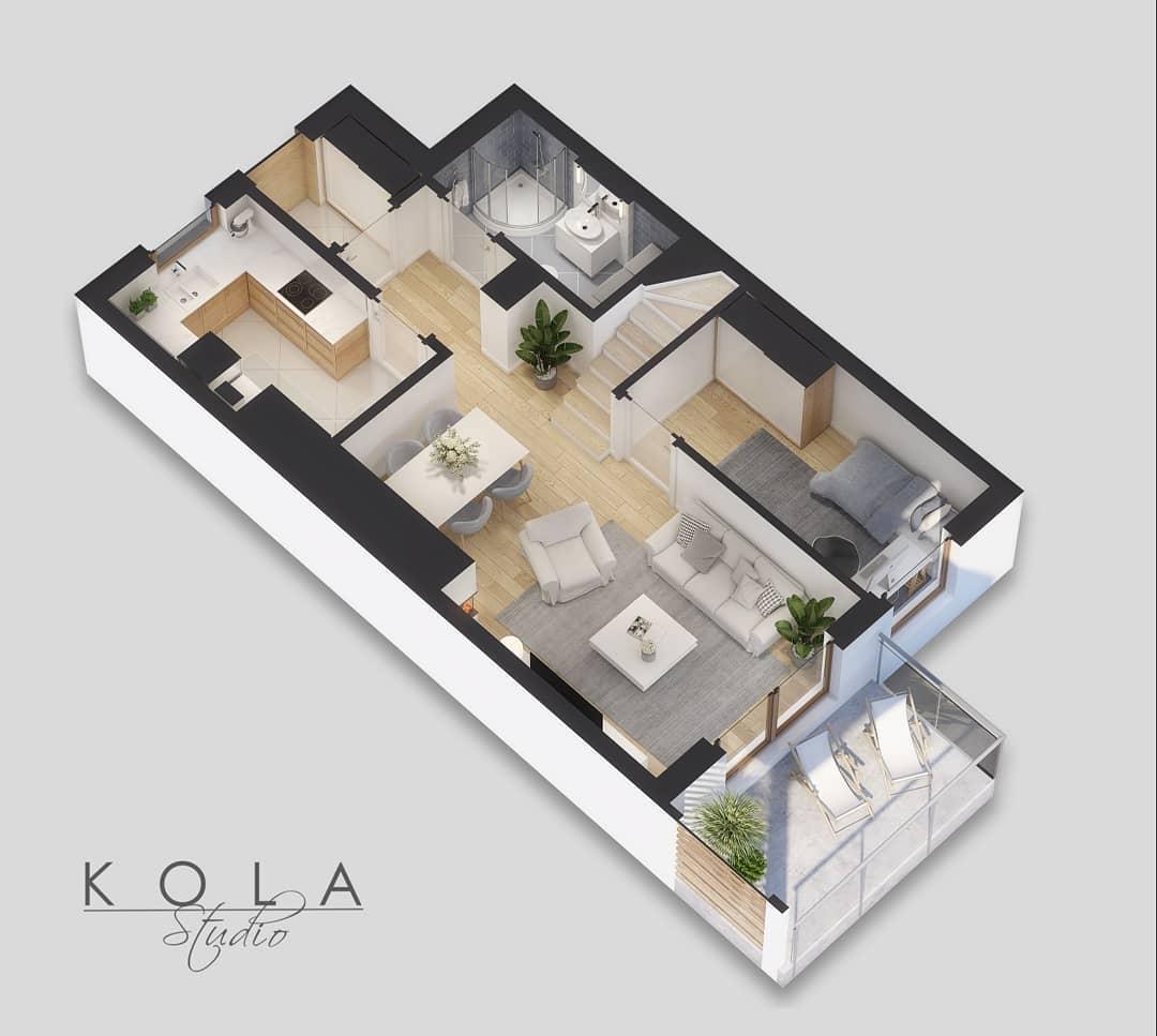 Departamento en 3D de dos pisos