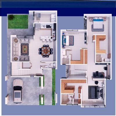 Entrada larga para planos de casas de dos pisos
