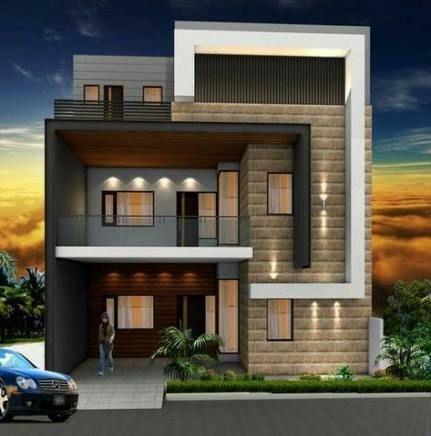 Fachada de casa de 3 pisos moderna