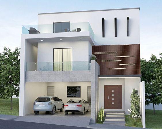 Fachada de casa minimalista de 3 pisos