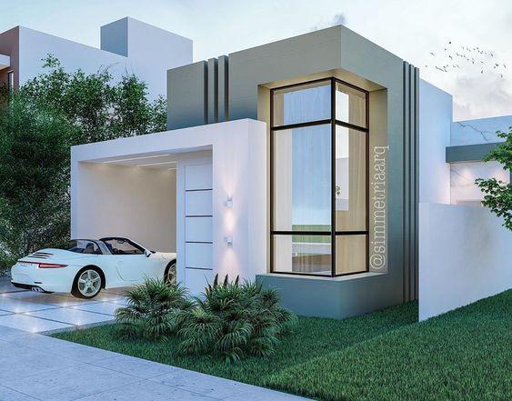 Fachada de casa moderna con ventanal en esquina