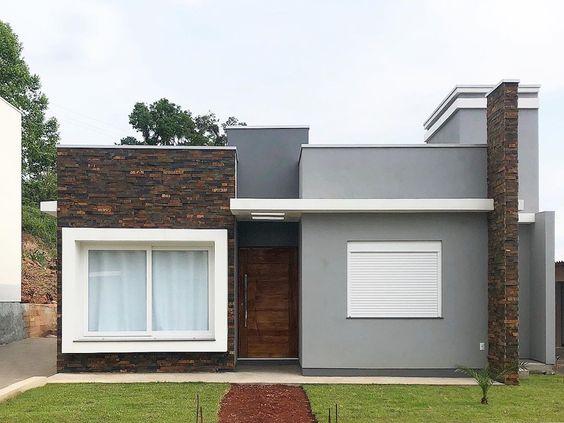 Fachada de casa moderna de una planta sencilla