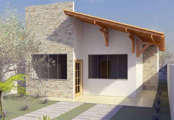 Fachada de casa pequeña con tejado