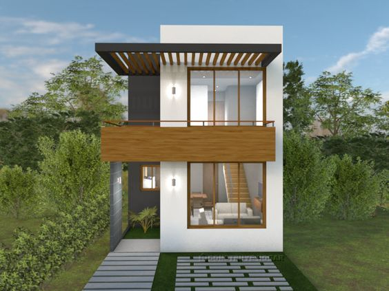 Fachada de casa pequeña de dos pisos con ventanales