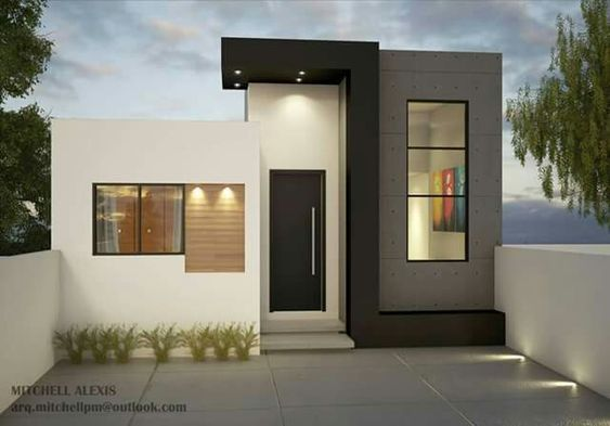 Fachada de casa pequeña moderna con tonos neutros