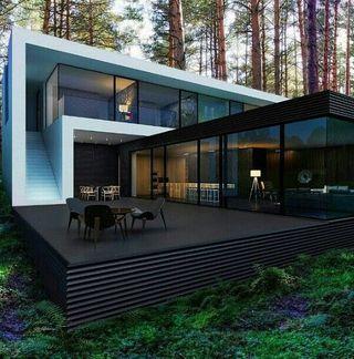 Fachada de casa residencial con deck oscuro al aire libre