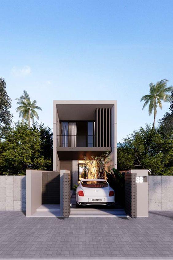 Fachada elegante de casa pequeña de dos pisos