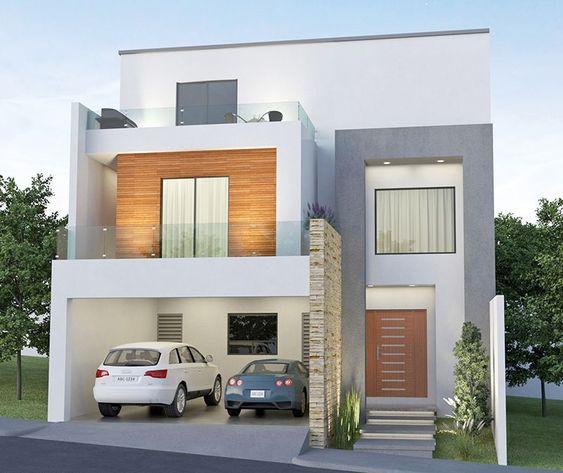 Fachada elegante para casa de 3 pisos