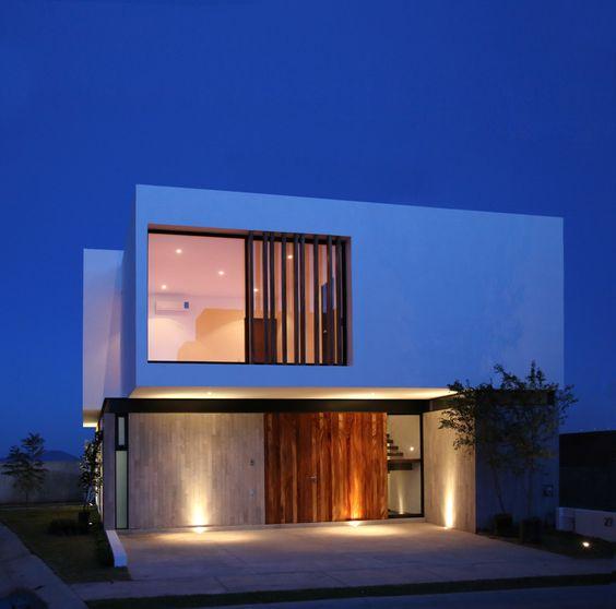 Fachada en bloques para casa minimalista