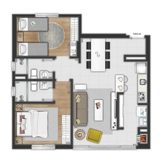 Habitación doble y principal para casa pequeña