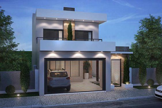 Metal y madera para fachada de dos pisos