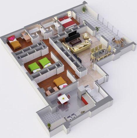 Plano de 4 habitaciones y terraza